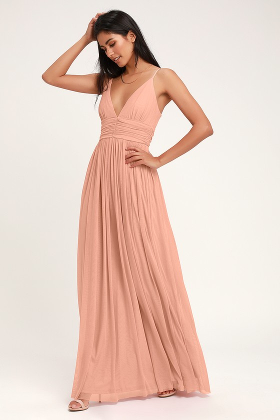 9c9511ec Glam Blush Pink Maxi Dress - Cream Gown - Cream Maxi Dress