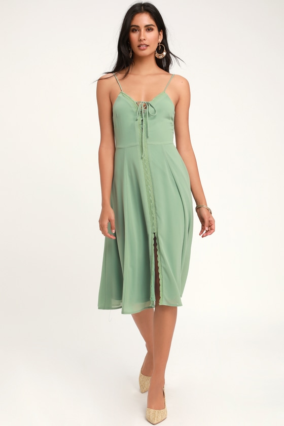 DON'T STEAL MY SUNSHINE DUSTY SAGE LACE-UP MIDI DRESS