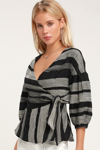 da984a3b521d Honey Punch Jennifer Black and White Striped Wrap Top