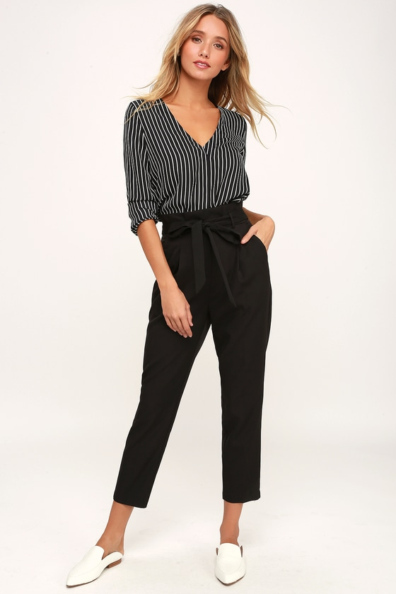 7a70c47bd5ae5b Chic Black Trousers - Paperbag Waist Pants - Black Office Pants