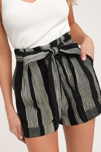 37550386c204 Honey Punch Cove Hopping Black and White Striped Belted High Waisted Shorts