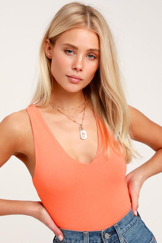 60836639f1d Sexy Top - Crop Top - Coral Orange Crop Top - V-Neck Crop Top