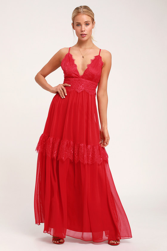 DREAM ABOUT ME RED LACE MAXI DRESS
