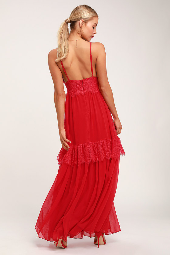 9b0ba5c82c66 Lovely Red Lace Dress - Lace Maxi Dress - Gown - Formal Dress