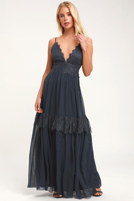 e3d92f006 Navy Blue Lace Dress - Lace Maxi Dress - Gown - Formal Dress