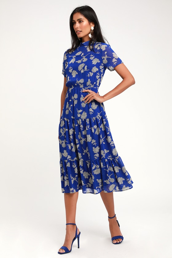 d78731370e Royal Blue Floral Print Dress - Midi Dress - Short Sleeve Dress