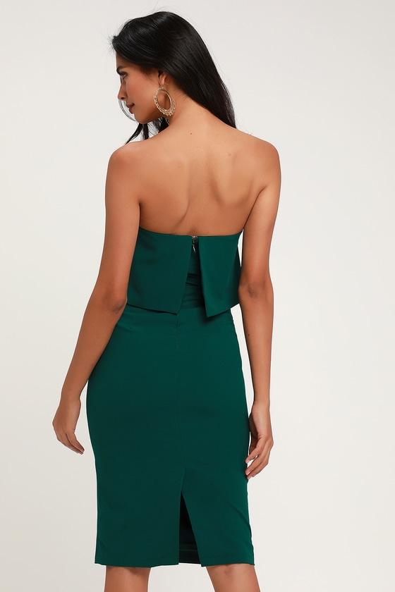 26639680eb8b Cute Emerald Green Dress - Strapless Dress - Midi Dress - Dress