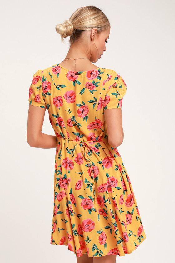 3cedd74962e Billabong Skate Day Dress - Yellow Floral Dress - Mini Dress