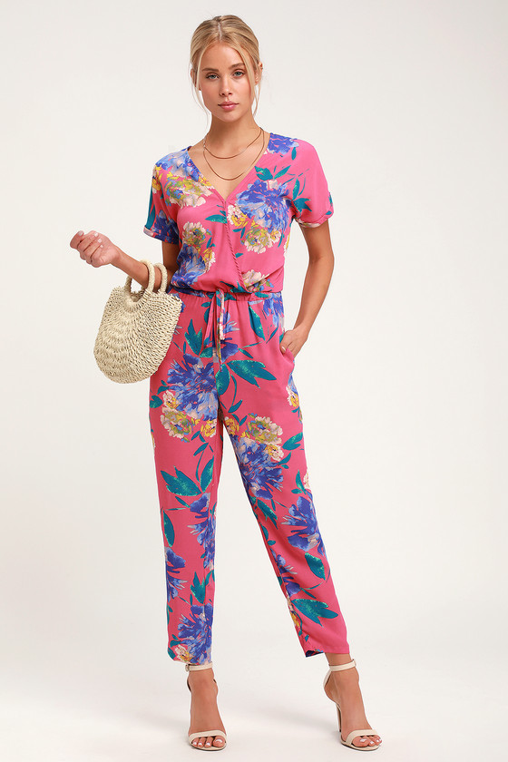 elegant and graceful classic shoes browse latest collections Successful Statice Hot Pink Floral Print Jumpsuit