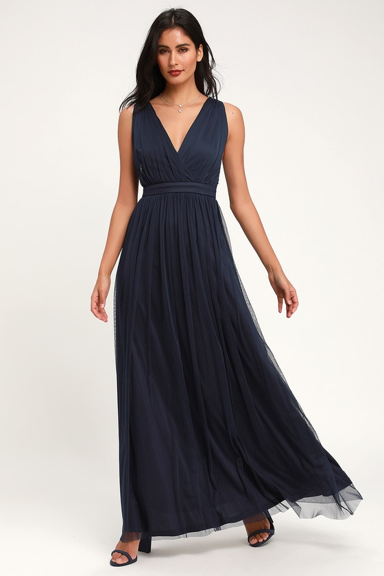 Romantic Moment Navy Blue Mesh Maxi Dress by Lulus