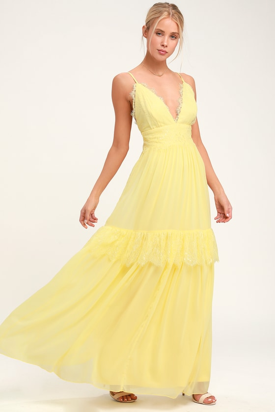 70s Prom, Formal, Evening, Party Dresses Dream About Me Pale Yellow Lace Maxi Dress - Lulus $86.00 AT vintagedancer.com