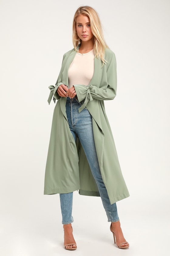 Cute Sage Green Trench Coat