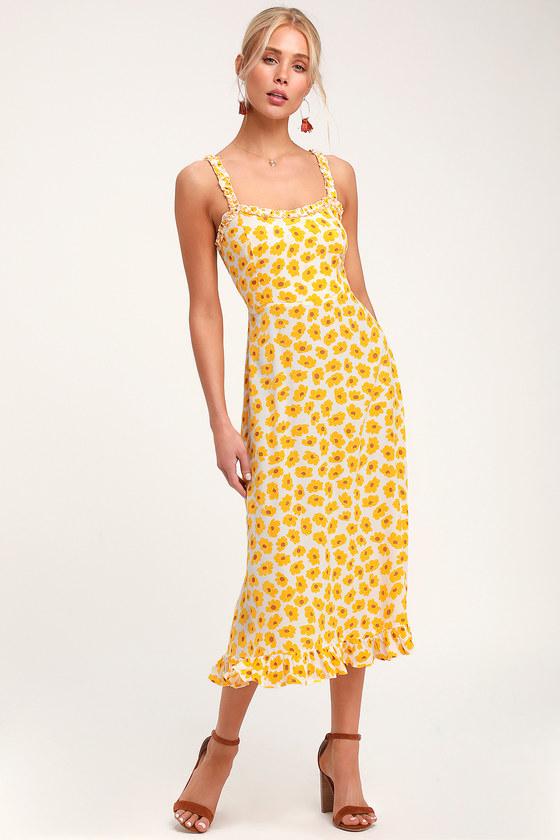 d4396a6afedf Faithfull the Brand Noemie - Yellow Floral Print Dress - Midi