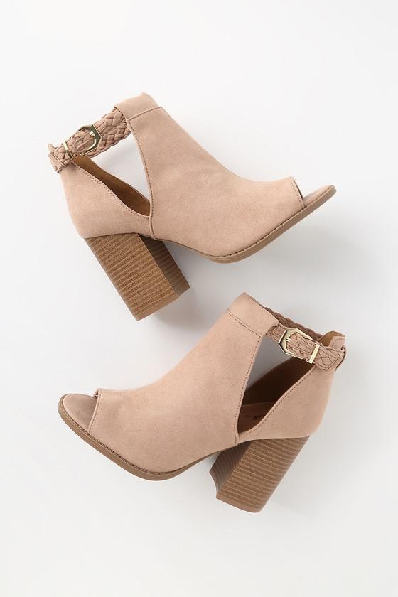 e5fe7145fa Cute Peep-Toe Booties - Taupe Booties - High Heel Booties