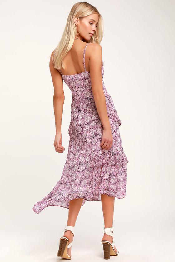 21380ef28d9b Cute Lavender Dress - Floral Print Dress - Midi Dress