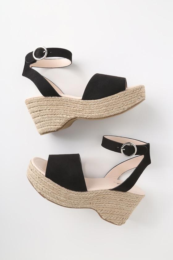 869e02ab9d Cute Black Sandals - Espadrille Sandals - Platform Espadrilles