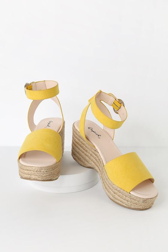 9fa2ff9959 Cute Yellow Sandals - Espadrille Sandals - Platform Espadrilles
