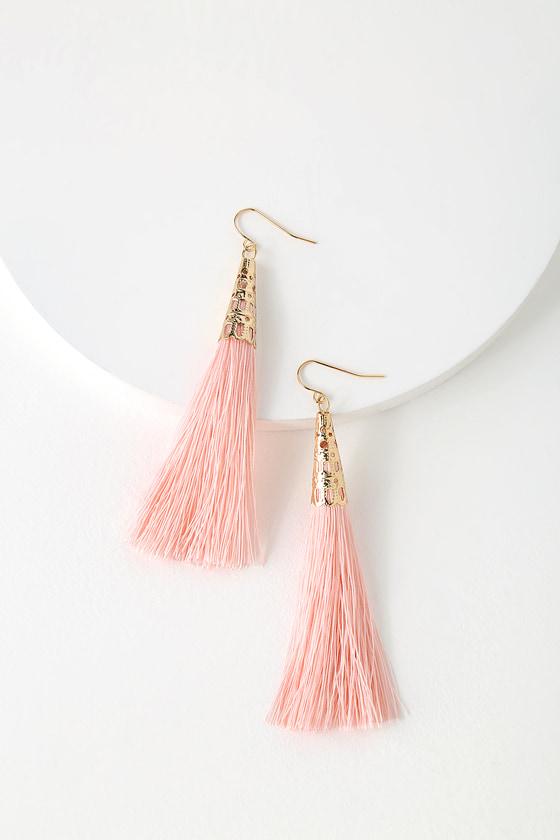 0ce60c2621cd63 Chic Blush Earrings - Tassel Earrings - Fringe Earrings