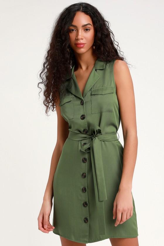 0ba2fa93 Olive Green Dress - Shirt Dress - Green Dress - Button-Up Dress