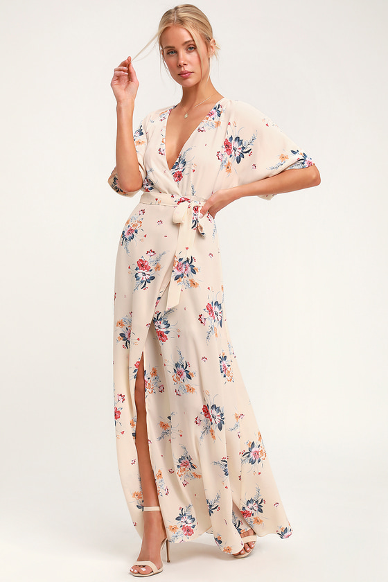 Flaming Cream Floral Print Wrap Maxi Dress - Lulus