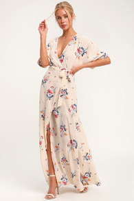 Glam Dusty Purple Dress - Floral Print Maxi Dress - Wrap Dress 6df74ae44