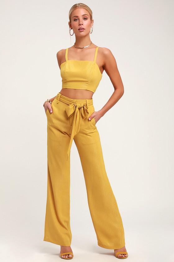 c019f7d82f14 Cute Yellow Pants - Pinstriped Yellow Pants - Yellow Trousers