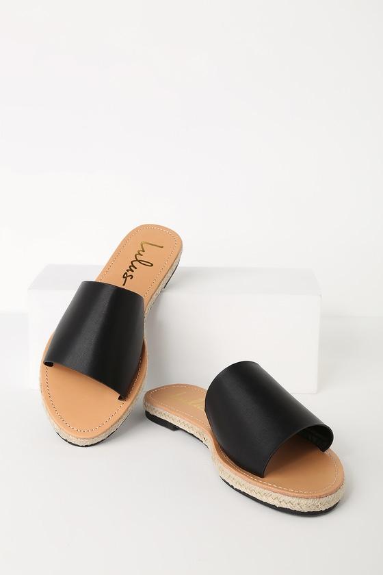 ad90bb8f413 Cute Black Sandals - Slide Sandals - Espadrille Sandals