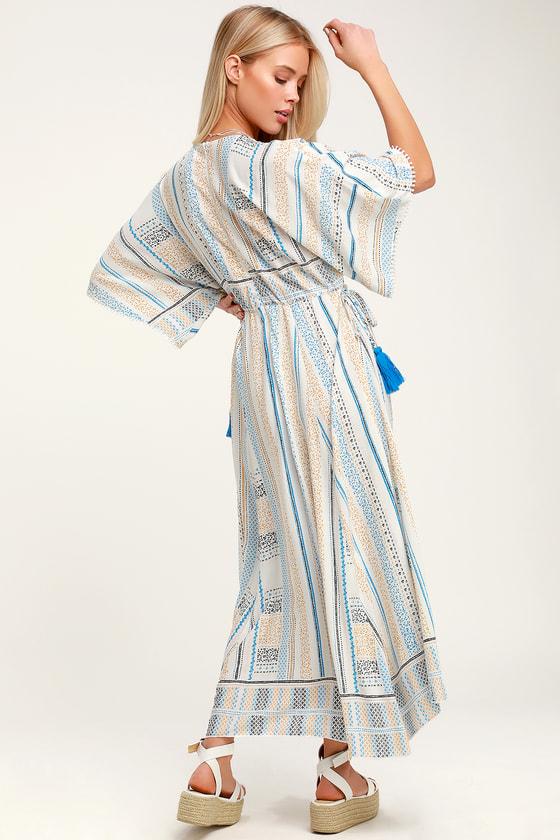 44e2166c1 Cute Cream Print Dress - Casual A-Line Dress - Tassel Midi Dress