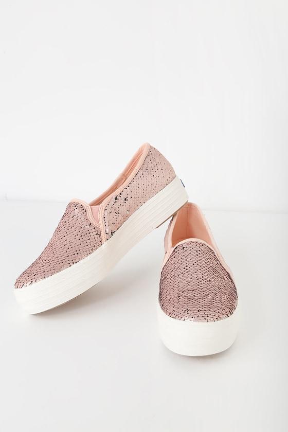 cff2158e4329 Cute Keds Triple Decker Sequin Pink - Slip On Sequin Sneakers