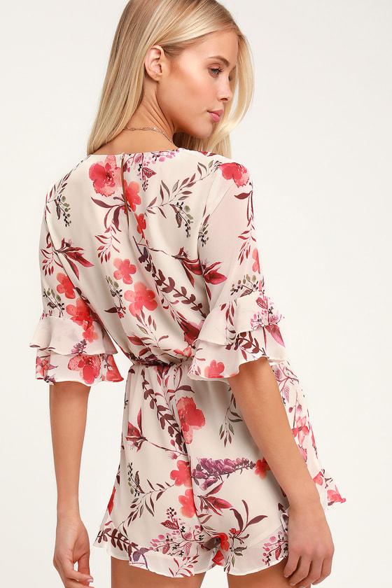 3adcfbd7233 Cute Beige Romper - Tie-Front Romper - Floral Print Romper