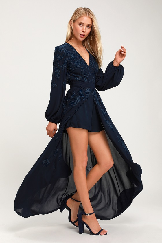 Honey Punch COASTAL VIBES NAVY BLUE EMBROIDERED LONG SLEEVE ROMPER