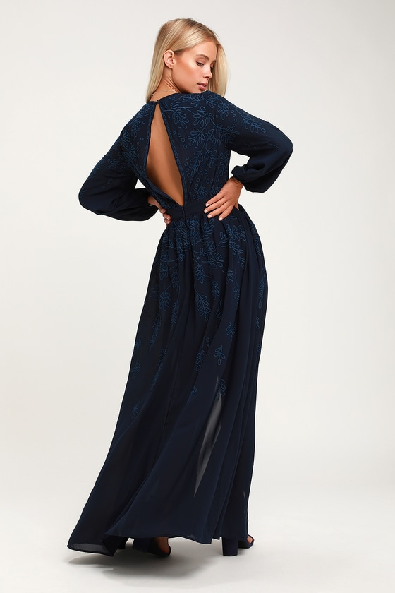 e935e8c251a8 Cute Navy Blue Romper - Maxi Romper - Embroidered Romper