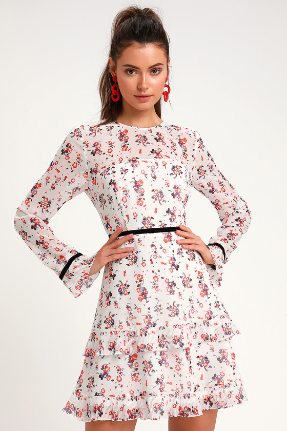 huge selection of differently low priced Cute White Floral Print Dress - Long Sleeve Dress - Mini Dress