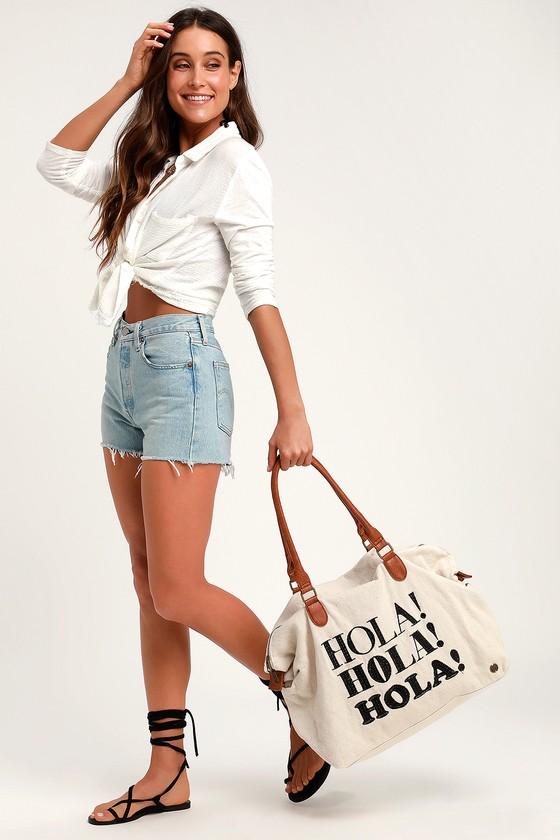 Bali Bliss Cream Canvas Weekender Bag