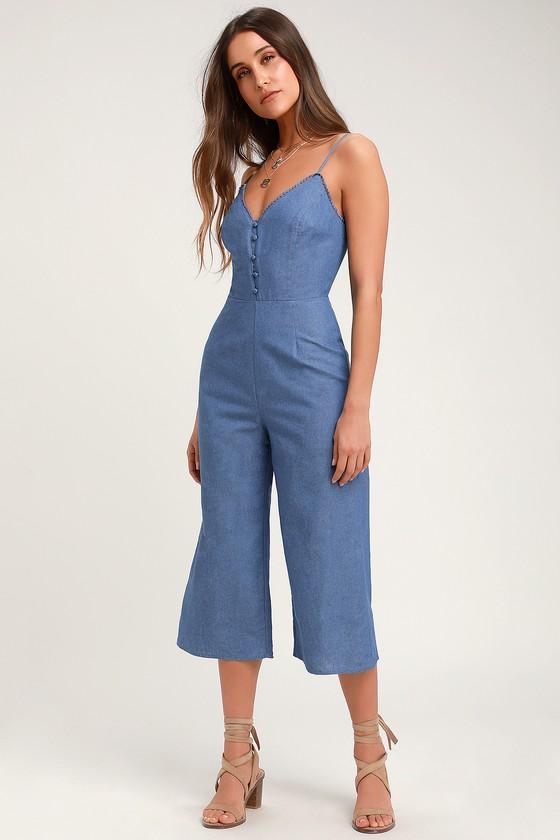 51e81aa0e60a Cute Blue Jumpsuit - Chambray Jumpsuit - Culotte Jumpsuit