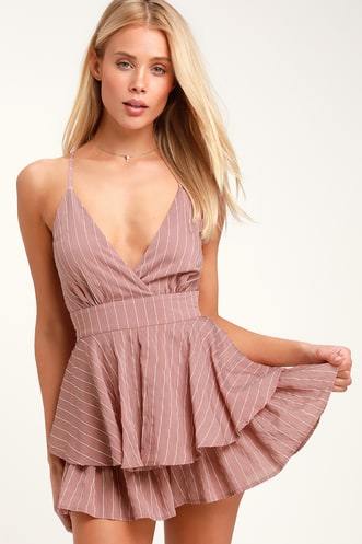 9515e2c59031 Ruffle and Flow Mauve Striped Backless Ruffle Romper
