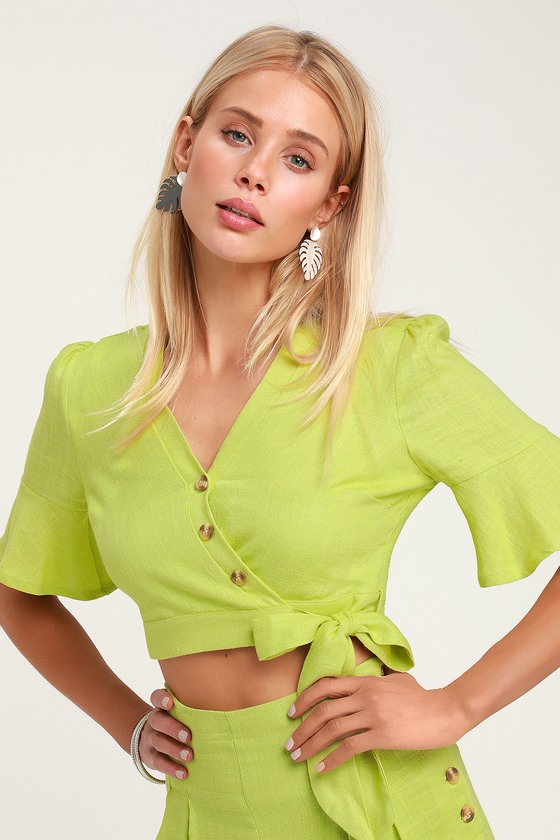 latest discount shop speical offer Cactus Bloom Lime Green Wrap Top