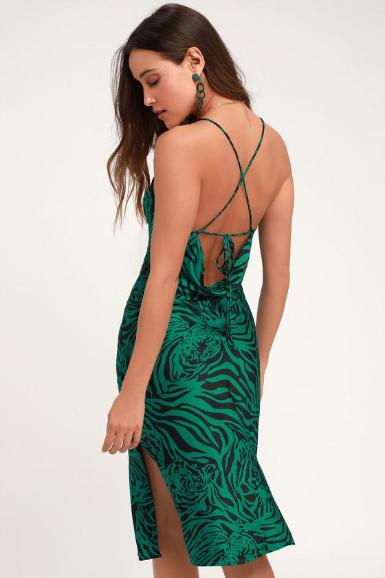 e0d0c425 Sexy Tiger Print Midi Dress - Green Print Dress - Satin Dress