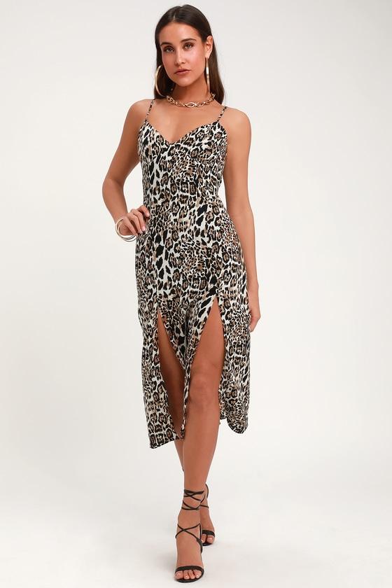 5e42463633e Fun Leopard Print Midi Dress - Twin Slit Leopard Print Dress