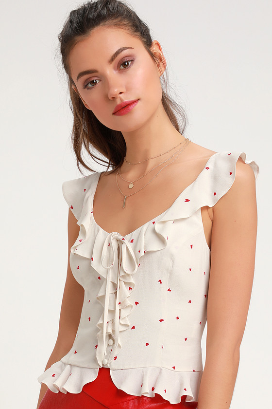 5df65b8396c5dc Cute Cream Top - Crop Top - Heart Print Top - Ruffled Top