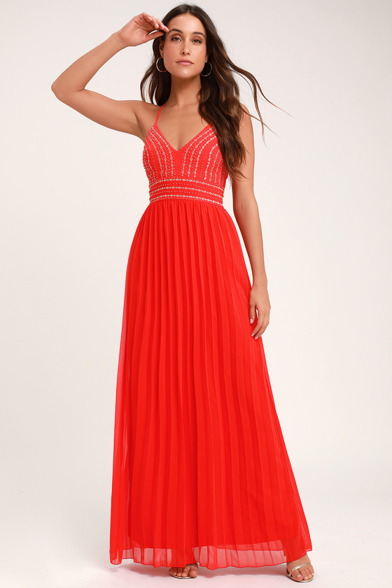 GLAMOROUS GALA RED EMBROIDERED MAXI DRESS