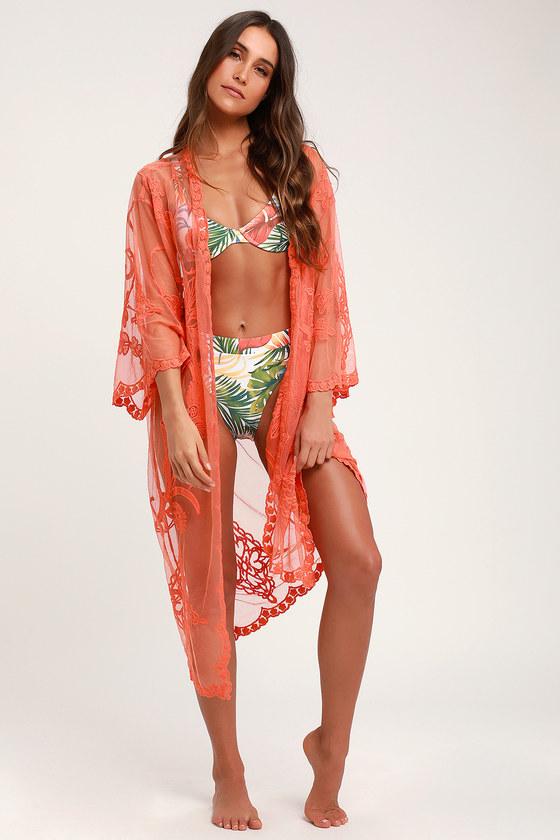 8158c94fc5 Cute Kimono Top - Sheer Lace Kimono Top - Lace Swim Cover-UP