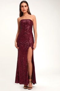 3f02ebeb786 Burgundy Sequin Dress - Sequin Maxi Dress - Embroidered Dress