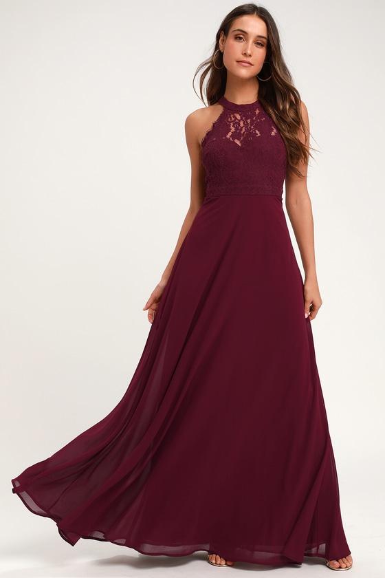 d7c50ae915eb Elegant Maxi Dress - Lace Maxi Dress - Burgundy Maxi Dress