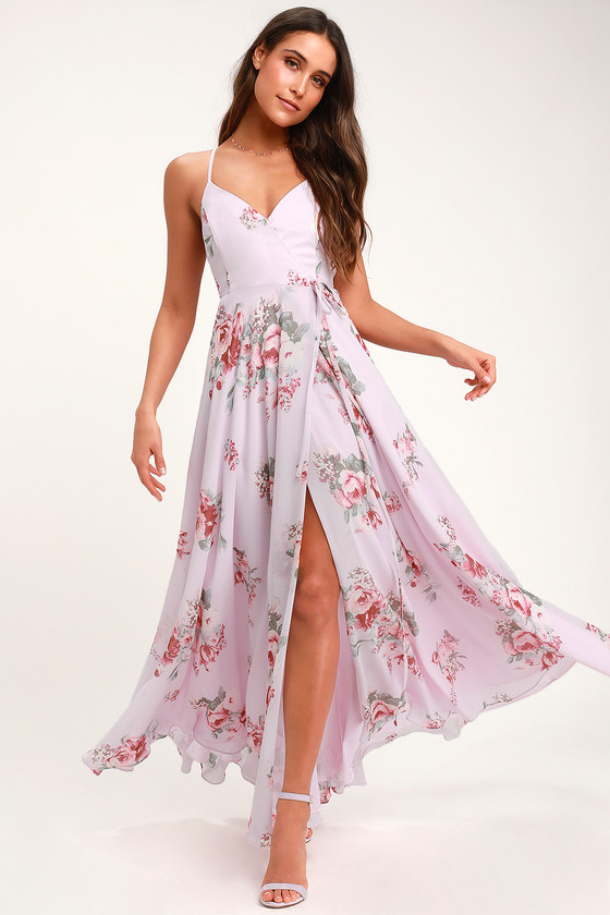 Elegantly Inclined Lavender Floral Print Wrap Maxi Dress - Lulus