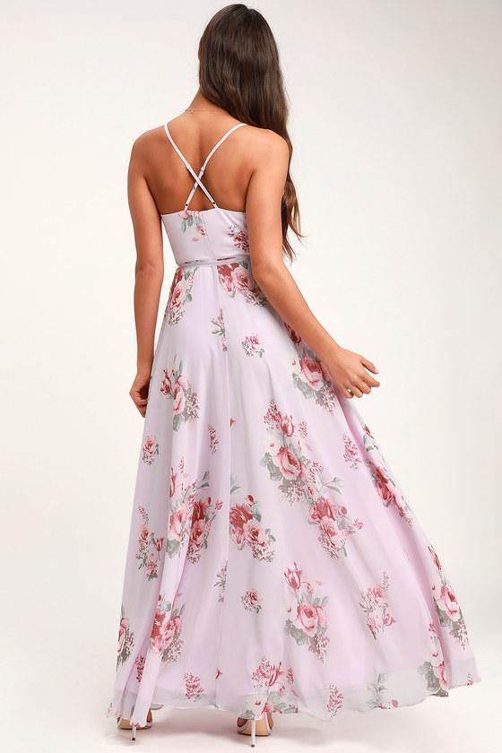 0bcc8ec0205d Lovely Lavender Floral Print Dress - Wrap Dress - Maxi Dress