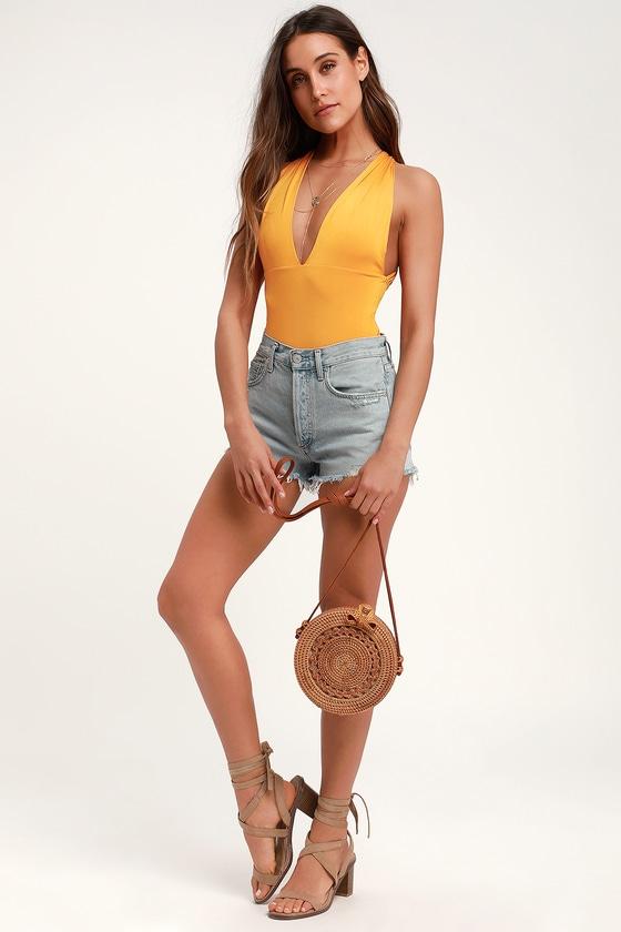 190c7de2d Sexy Mustard Yellow Bodysuit - Yellow V-Neck Bodysuit