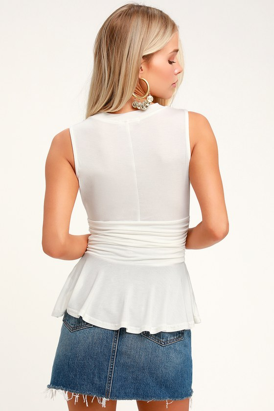 0400b57d5cecda Cute White Peplum Top - Sleeveless Top - Stretch Knit Top