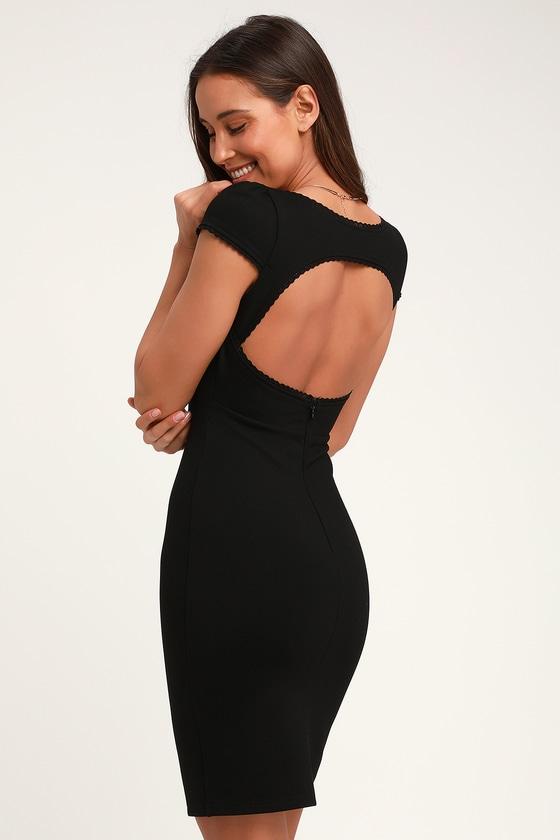 114fe38b727647 Sexy Black Bodycon Dress - Short Sleeve Dress - Black Dress
