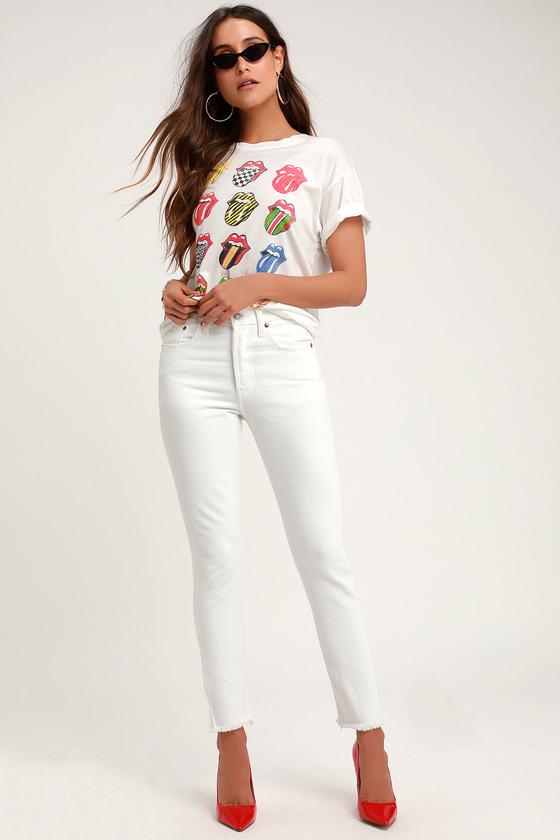42d192db237c Levi's 501 Skinny - White Skinny Jeans - White High Rise Jeans